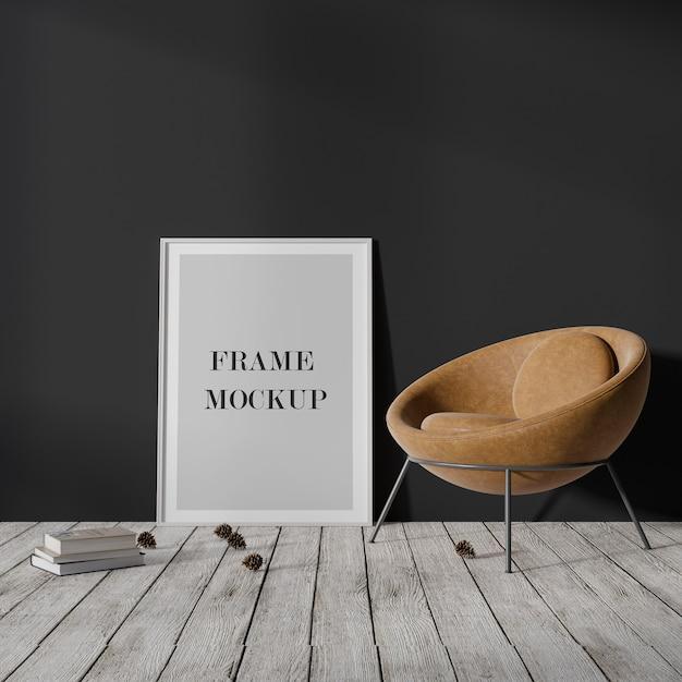 Thin white empty frame mockup leaning against dark wall Premium Psd
