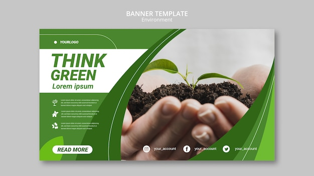 Think green environment banner template Free Psd