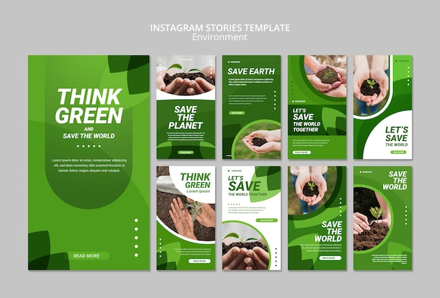 Think green instagram stories template Free Psd