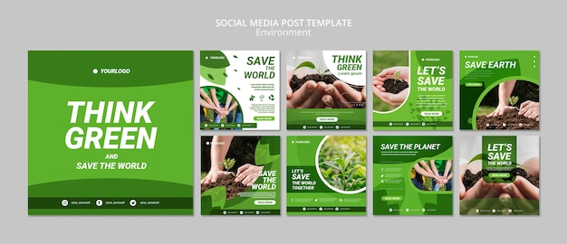 Think green social media post template Free Psd