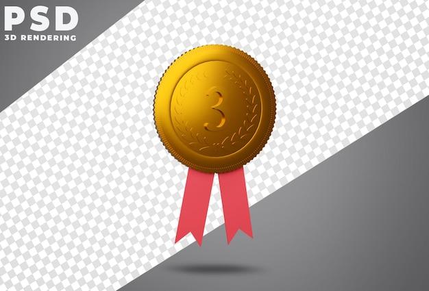 Третье место награды бронзовой медалью 3d-рендеринга Premium Psd