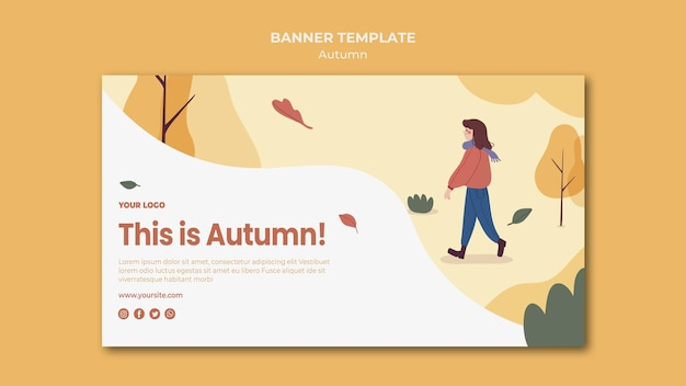 This is autumn banner template Free Psd