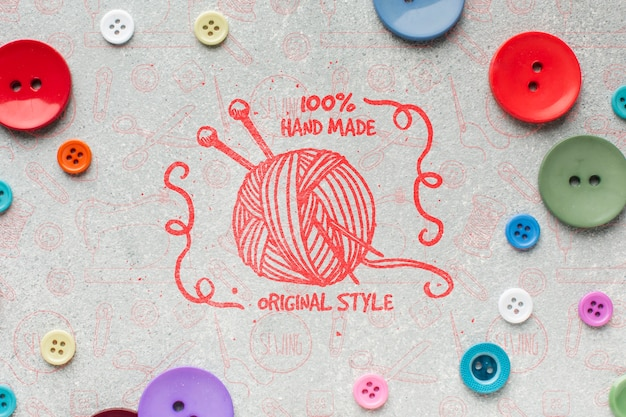 Thread mock-up surrounded by buttons Free Psd