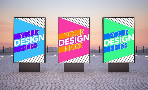 Three billboards for commercial ads mock up Premium Psd