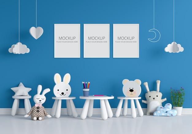 Три пустые фоторамки для макета в детской комнате Premium Psd