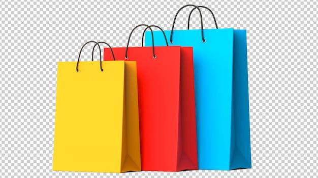 Три красочные бумажные хозяйственные сумки Premium Psd