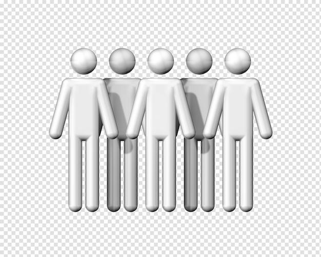 Трехмерная группа фигурок как изолированный символ коммуникации Premium Psd