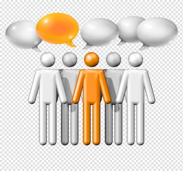Трехмерная группа фигурок людей с изолированными речевыми пузырями Premium Psd