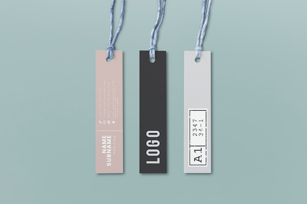 Three fashion label tag mockups Free Psd