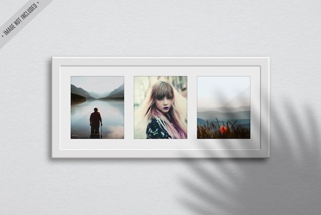Three frame mockup in living room interior Premium Psd