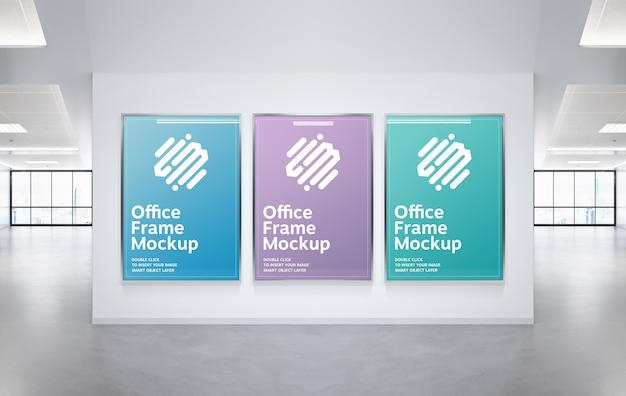 사무실 벽 이랑에 걸려 3 프레임 프리미엄 PSD 파일