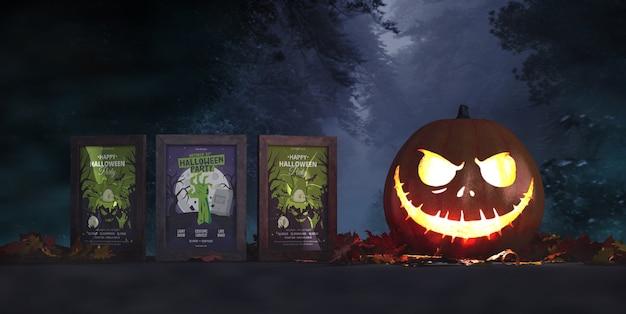 Three horror movie posters mock-up Free Psd