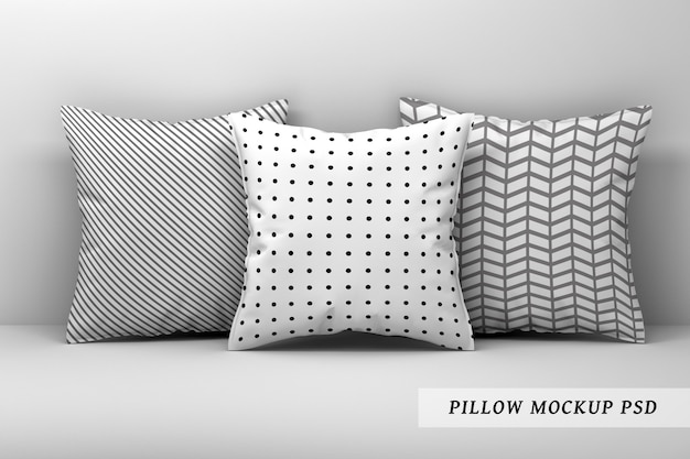 Of three large sleeping pillows on white background Premium Psd