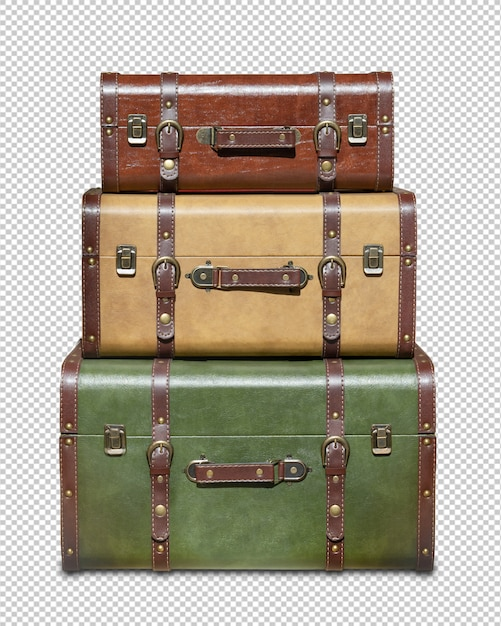 Three stacked vintage suitcases isolated Premium Psd