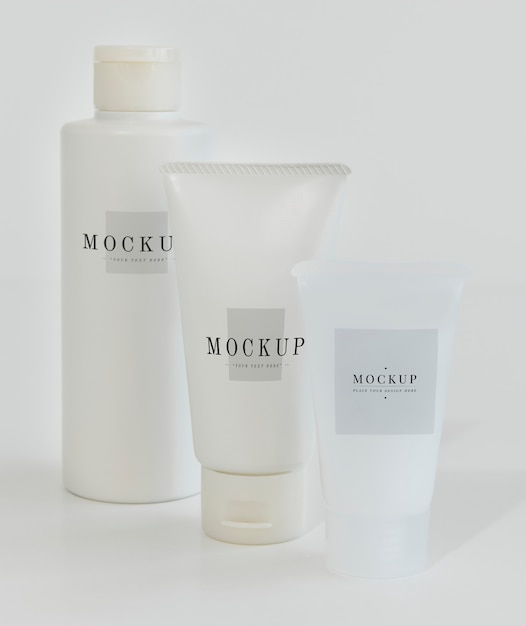 Three types of body care packaging mockups Free Psd