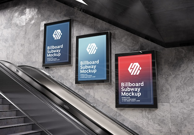 Three vertical billboards in subway station mockup Premium Psd