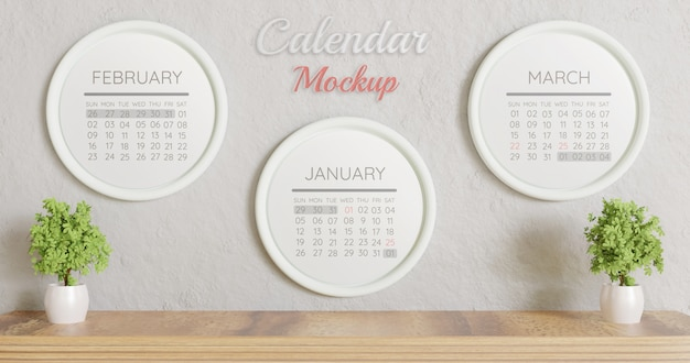 Three white circle calendar mockup on wall Premium Psd