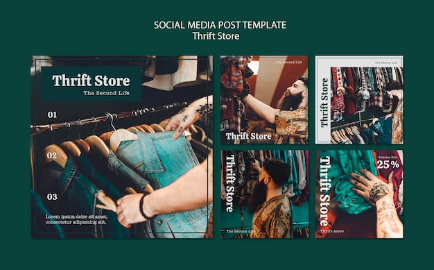 Thrift store social media post template Free Psd