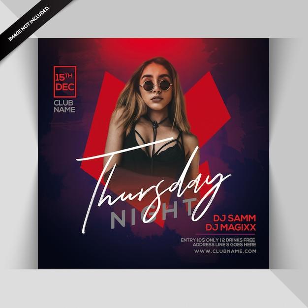 Thursday night party flyer Premium Psd