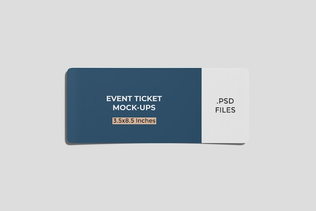 Ticket/ boarding pass mockup top angle view Premium Psd