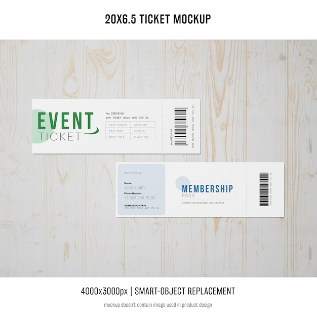 Ticket mockup Psd Gratuite