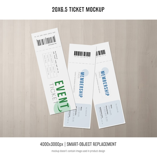 Ticket mockup Free Psd