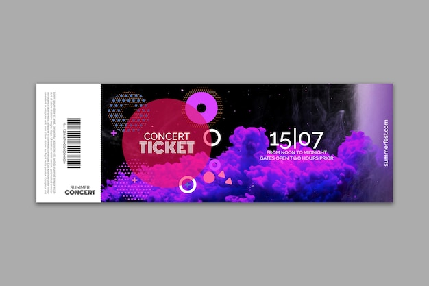 Ticket template for summer festival Free Psd