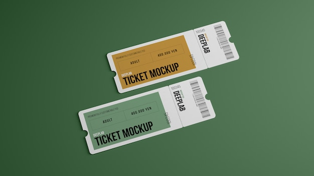 Tickets with editable  color mockup Premium Psd