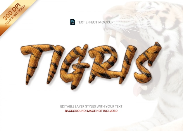 Tiger striped fur animal pattern text effect psd template. Premium Psd