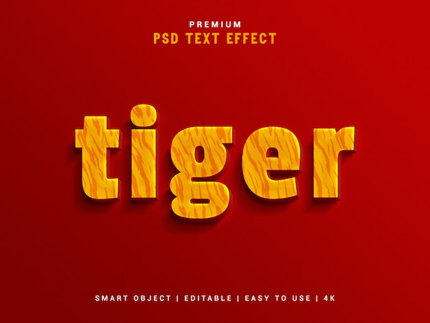 Tiger text effect maker Premium Psd