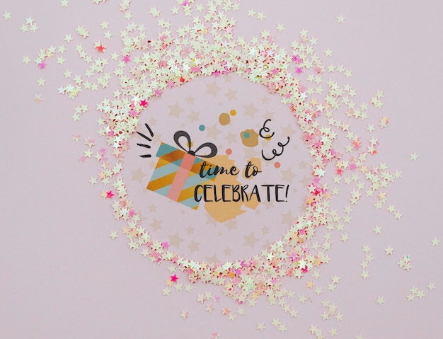 Time to celebrate confetti frame Free Psd