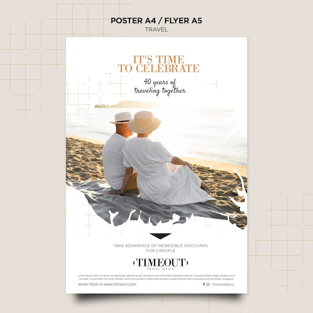 Time to celebrate travel poster template Premium Psd