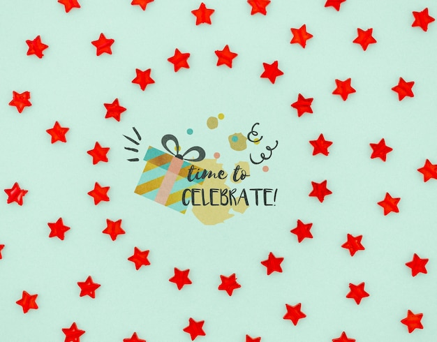 Time to celebrate with confetti red stars Free Psd