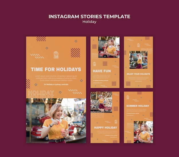 Time for holidays instagram stories template Premium Psd