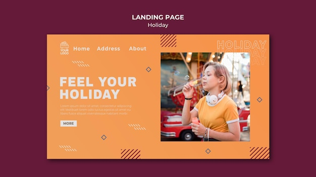 Time for holidays landing page Premium Psd