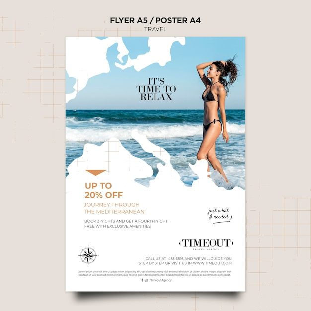Time to relax travel poster template Free Psd