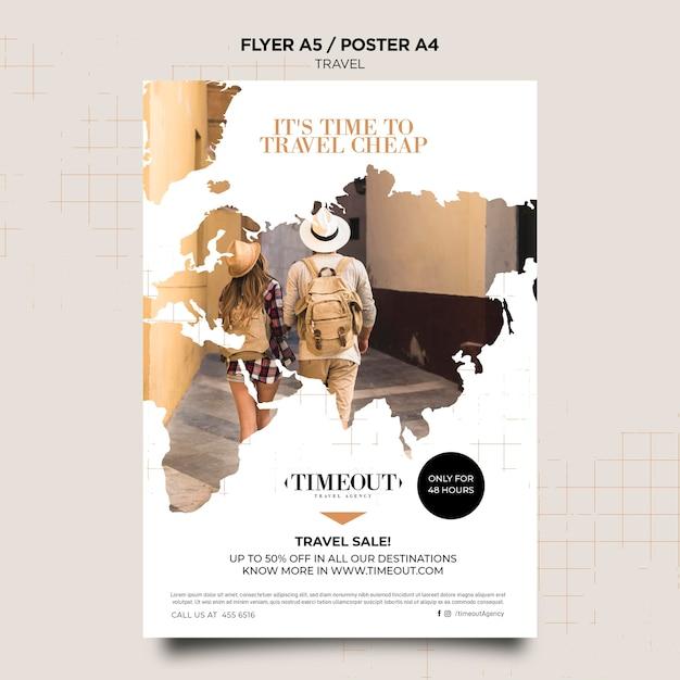 Время путешествовать дешево шаблон плаката Бесплатные Psd