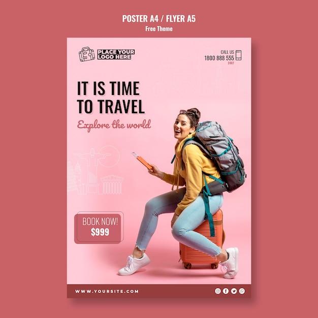 Время путешествовать шаблон плаката с фотографией Бесплатные Psd
