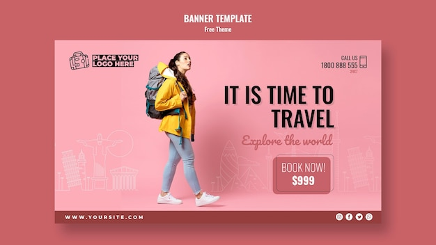 Time to travel banner template with photo Free Psd