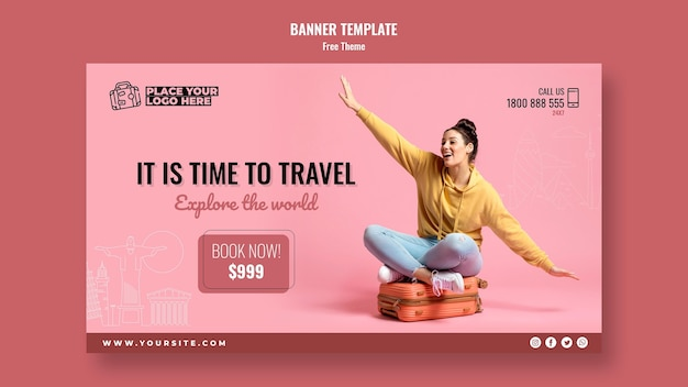 Time to travel banner template Free Psd