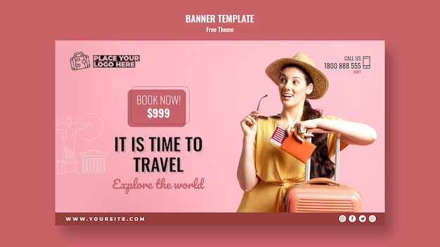 Time to travel banner with photo Free Psd