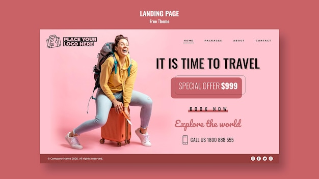 Time to travel landing page template with photo Free Psd