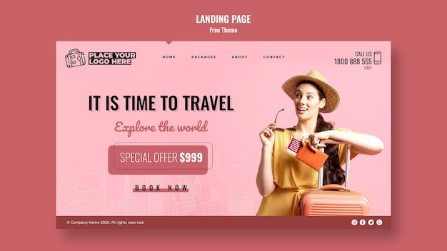 Time to travel landing page template Free Psd