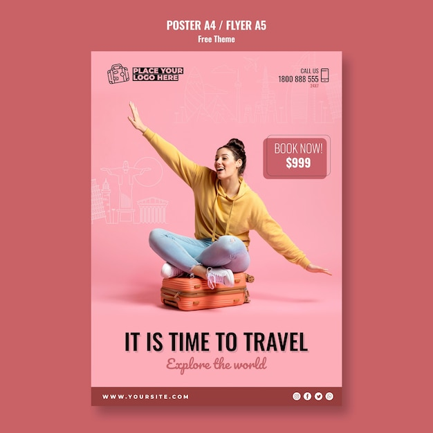 Time to travel poster template Free Psd