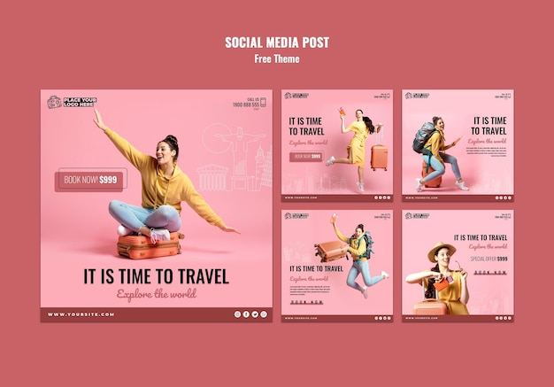Time to travel social media posts template Free Psd