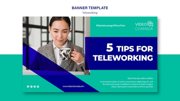 Tips for teleworking banner template Free Psd