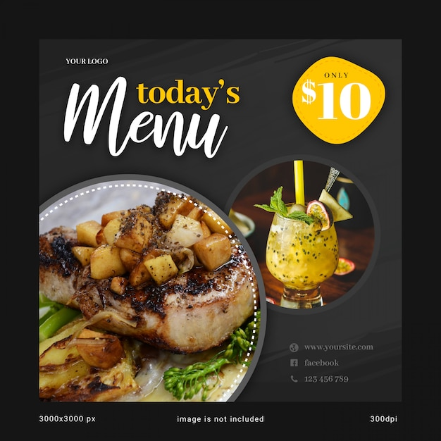 Today's menu social media banner template Premium Psd