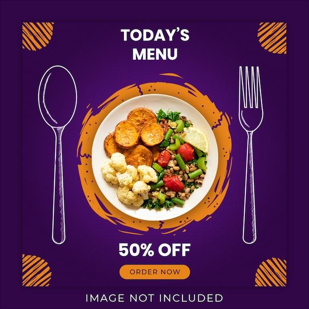 Сегодняшнее меню еды социальные медиа баннер шаблон Premium Psd