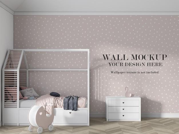 Макет стены спальни для малышей с минималистской мебелью Premium Psd