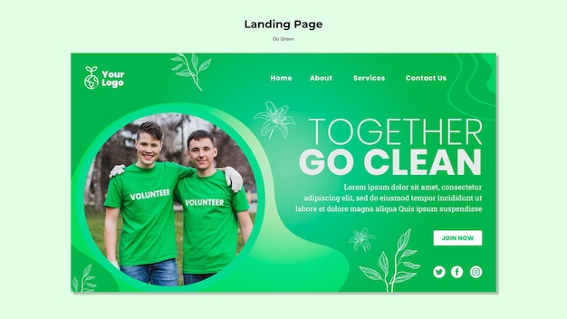 Together go clean landing page Free Psd